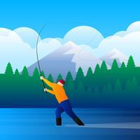 Pesca com mosca na ilustração de fluxo de montanha vetor