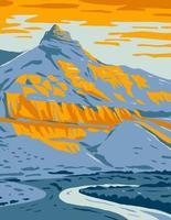 rocha de ovelha em rocha de ovelha unidade de monumento nacional de leitos fósseis de john day em oregon arte de pôster wpa