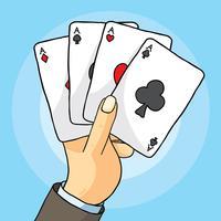 Mão com vetor de cartas de jogar