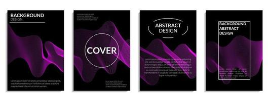 conjunto abstrato de linha ondulada gradiente roxo escuro