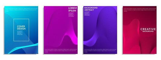 conjunto abstrato de formas de linhas onduladas gradientes coloridas