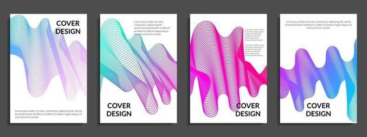 conjunto abstrato de linhas onduladas gradientes coloridas vetor
