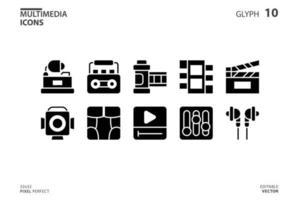coleção de ícones de multimídia em estilo glifo. ilustração vetorial e curso editável. isolado no fundo branco.