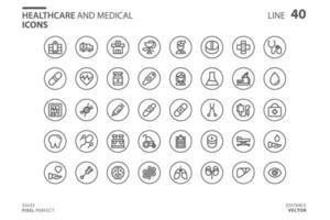 conjunto de ícones de estilo de linha médica e de saúde vetor