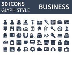 conjunto de ícone de negócios em estilo glifo isolado no fundo branco. para o design do seu site, logotipo, aplicativo, interface do usuário. ilustração de gráficos vetoriais e curso editável. eps 10.