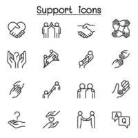 ícone de cuidado, apoio e simpatia definido em estilo de linha fina