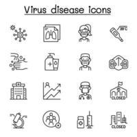 coronavírus, ícone covid-19 definido em estilo de linha fina