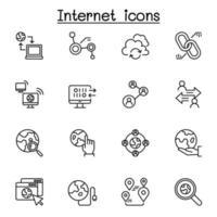 ícone de conexão de internet definido em estilo de linha fina vetor
