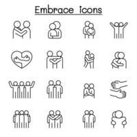 ícone de abraço definido em estilo de linha fina vetor
