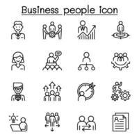 ícone de pessoas de negócios definido em estilo de linha fina vetor