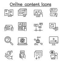 ícone de conteúdo online definido em estilo de linha fina