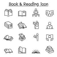 ícones de livro e leitura definidos em linhas finas vetor