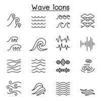 ícone de onda definido em estilo de linha fina vetor