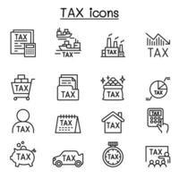 ícones fiscais definidos em estilo de linha fina vetor