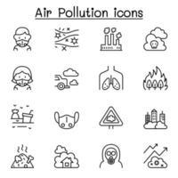 ícone de poluição do ar definido em estilo de linha fina vetor