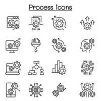 processo, ícone de análise de dados definido em estilo de linha fina