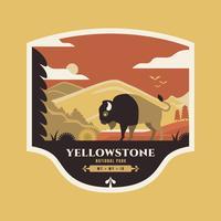 Bisonte americano na ilustração do crachá de Yellowstone do parque nacional. vetor