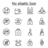 nenhum ícone de sinal de plástico definido em estilo de linha fina