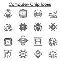 chips de computador e ícones de circuito eletrônico em estilo de linha fina