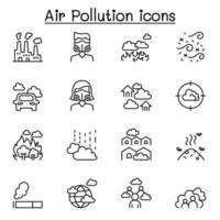 poluição do ar e ícone de doença viral definido em estilo de linha fina vetor