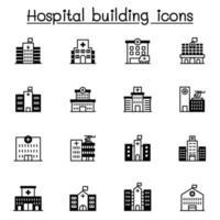 conjunto de ícones de construção de hospital ilustração vetorial design gráfico vetor