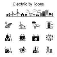 conjunto de ícones de eletricidade ilustração vetorial design gráfico