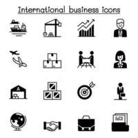 conjunto de ícones de negócios internacionais ilustração vetorial design gráfico