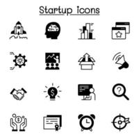 conjunto de ícones de inicialização ilustração vetorial design gráfico