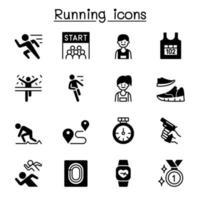 executando competição conjunto de ícones design gráfico de ilustração vetorial
