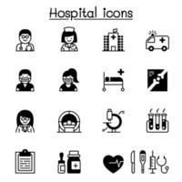 conjunto de ícones de hospital ilustração vetorial design gráfico vetor