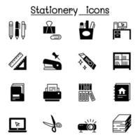 conjunto de ícones vetoriais relacionados a artigos de papelaria. vetor