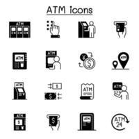 atm relacionados com ícones do vetor. vetor