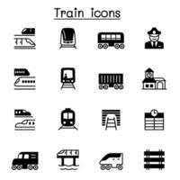 conjunto de ícones de trem ilustração vetorial design gráfico vetor