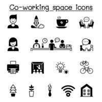 conjunto de espaço de co-trabalho e ícones de vetor relacionados à inicialização.