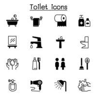 conjunto de ícones de banheiro ilustração vetorial design gráfico vetor