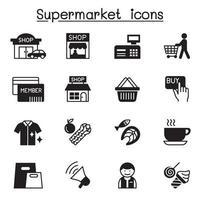 supermercado, shopping center, shopping center icon set ilustração vetorial design gráfico