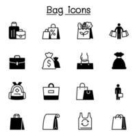 conjunto de ícones de sacola ilustração vetorial design gráfico