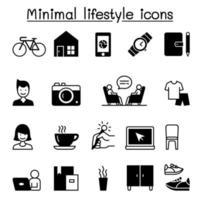 estilo de vida mínimo, ícones modernos definir ilustração vetorial design gráfico