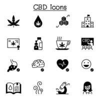 cbd, ícones de cannabis definir ilustração vetorial design gráfico