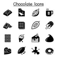 cacau, chocolate, cacau icon set ilustração vetorial design gráfico vetor