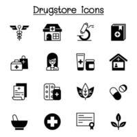 drogaria, boticário conjunto de ícones de ilustração vetorial design gráfico vetor