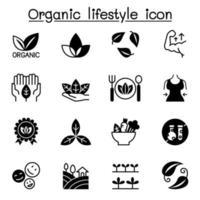 conjunto de ícones de estilo de vida orgânico ilustração vetorial design gráfico