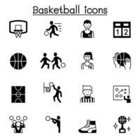 conjunto de ícones do vetor relacionados ao basquete. contém ícones como bola, jogador, refree, quadra de basquete, tênis, placar, troféu, arco e muito mais.