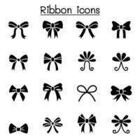 conjunto de ícones de fita e gravata borboleta ilustração vetorial design gráfico