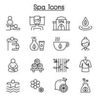 spa, massagem, ícone de aromaterapia definido em estilo de linha fina vetor