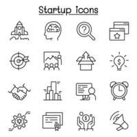 ícone de inicialização definido em estilo de linha fina vetor