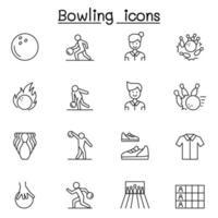 ícones de boliche definidos em estilo de linha fina