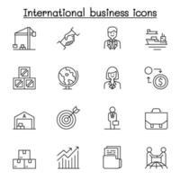 ícone de negócios internacionais definido em estilo de linha fina