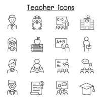 ícone do professor definido em estilo de linha fina vetor