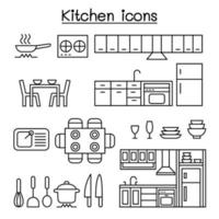 ícone de cozinha definido em estilo de linha fina vetor